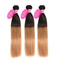 цветные пучки волос оптовых-Пучки волос Ombre Honey Blonde 3 Прямые перуанские пучки волос предварительно окрашенные человеческие волосы Weave Non Remy Ombre пучки Perstar