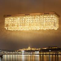 modern dikdörtgen kolye lambaları toptan satış-Modern Dikdörtgen Kristal Avizeler 60 cm 80 cm Kolye Işık Yemek Odası led ampul Işıkları ile LED Tavan Lambası AC110-240V