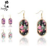 Wholesale bulk ladies - Designer Gold Fill Floral Kendre Earrings Boho Acrylic Chandelier Dangles for Lady Elegant Fashion Party Jewelry In Bulk