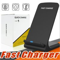 Wholesale Wireless Charger Stand - 2 Coils Fast Wireless Charger Qi Wireless Charging Stand Pad for Apple iPhone X 8 8Plus Samsung Note 8 S8 S7 all Qi-enabled Smartphones