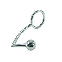 Wholesale cock ring stainless steel butt plug for sale - Stainless Steel Metal Anal Hook with Penis Ring for male Anal Plug Penis Chastity Lock Fetish Cock Ring