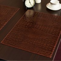 Wholesale European Style Coffee Table - Leather Placemat European Style Crocodile Pattern Table Mat Insulation Pad Mats Decorative Coffee Coasters 3 Colors