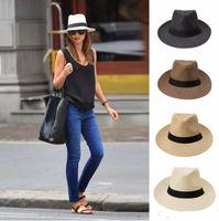 Wholesale ladies fashion hats for sale - Group buy fashion Wide Brim straw hats ladies sun hat summer straw hat men and women big cowboy hat Beach cap Colors