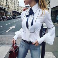 manga branca venda por atacado-2018 Moda Blusas Mulheres Casual Magro Top Puff Manga Blusa Branca Bandagem Pescoço de Manga Longa Tops Camisa Plus Size