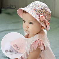 Wholesale baby girl bonnet flowers online - Summer Flower Print Cotton Baby Hat Cap Kid Girls Floral Bowknot Caps Sun Bucket Hats Double Sided Can Wear bonnet enfant