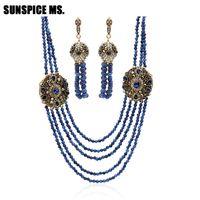 afrikanischer jadestein großhandel-Neuankömmlinge African Beads Schmuck Set Nigerian Hochzeit Engagement Halskette Ohrring für Frauen Handmade Stone Indian Jewelry