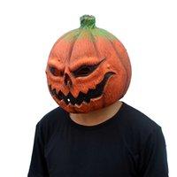 maske kafa lateksi komik toptan satış-Cadılar bayramı Kabak Kafa Lateks Maske Cosplay Kostüm Aksesuarları Komik Maske Parti Şakalar Unisex Maske Ücretsiz Kargo