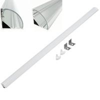 barra de luz en forma de v al por mayor-2m 45 grados en forma de V Esquina de pared de aluminio Triángulo Luces de barra LED Accesorios Soporte de canal Leche / Cubierta transparente Terminar para tira de luz LED
