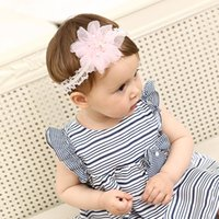 Wholesale hats for infants - Infant pink lace flower elastic headband Cute Hairbands brithday hat Head Bands for Girls NewBorn Lace Hair Accessories KHA680