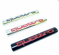 logo a6 al por mayor-Nuevo estilo del coche Quattro Logo Pegatina Quattro Insignia Chrome Accesorios para AUDI A3 A4 A5 A6 A7 A8 S3 S4 S5 S6 Q3 Q5 Q7 TT R8 RS