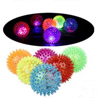 Wholesale led festival toys - New Soft Rubber Flash Ball LED Toys Hedgehog Ball Bouncing Ball Flash Barbed toy Led Flash Pet Toys Christmas Birthday Festival Gift STY084