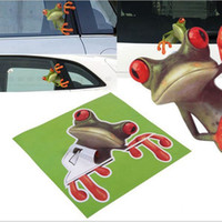Wholesale door sticker art for sale - Group buy 3D Stereo Cute Frog Funny Car Window Stickers Toilet Wall Decoration Removable Decal Vinyl Art DDA291