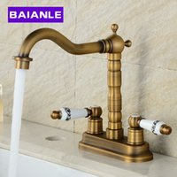 Wholesale antique brass bathroom faucet - Golden Antique Basin Faucet Brass Deck Mounted Dual Ceramics Cross Handles Bathroom Vessel Sink Swivel Mixer Taps