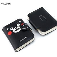 ingrosso portafogli giapponese-Fashion Anime Japan KUMAMON Portafoglio PU Studente Short Purse Unisex Porta carte Carteiras Notecase Borsa Moneybag