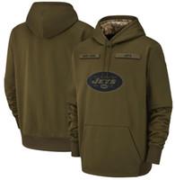 jatos hoodies venda por atacado-2018 homens Nova Iorque Moletom Jets Saudação para Serviço Sideline Therma Desempenho Pullover Moletom Com Capuz Azeitona