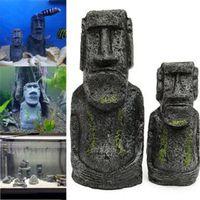 Wholesale Island Decoration - The Easter Island Statue Accessory Stone Pipe Decoration Product All For Fish Tank Aquarium Decoration Ornament Appliance Decor 0704241