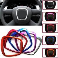 autoloten für lenkrad großhandel-Für Audi Q5 zubehör Auto dekorieren Lenkrad Logo Embleme 3D Aufkleber Ring Für Audi A3 A4 A5 Q3 Q5 Q7 interieur zubehör