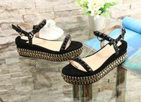 Wholesale black studded platforms - Brand New Women Sandals 2018 Luxury Red Bottom Woman Gladiator Sandals Platform Cataclou Studded Wedge Shoes Party Wedding Evening Shoes