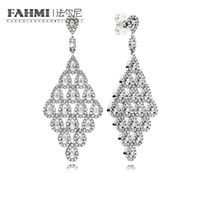 Wholesale black cz 925 silver earrings resale online - FAHMI sterling silver CZ Cascading Glamour Limited Edition Earrings Clear CZ Fashion Simple Women s Gifts