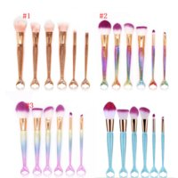 Wholesale Beauty Brushes - HOT Mermaid Makeup Brushes 6 PCS Makeup Brushes Tech Professional Beauty Cosmetics Brushes Sets Free Shipping in stock