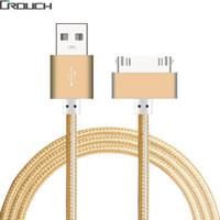 кабельные штырьки usb оптовых-USB-кабель быстрое зарядное устройство для iphone 4 4s iPad 2 3 Металлическая нейлоновая оплетка 4 30-контактный адаптер зарядки Кабель для зарядки Синхронизация данных для Apple