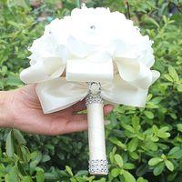cetim rosa venda por atacado-Barato Artesanal Da Dama De Honra Decoração de Casamento Espuma Flores Rose Nupcial Bridemaid Wedding bouquet Branco Cetim Romântico bouquet de Casamento