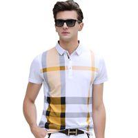 Wholesale Korean Polo Shirts - Summer Fashion Brand Men 'S Clothing 2018 New Korean Loose Short Sleeve Plaid Polo Shirts Male Business Casual Man Tops