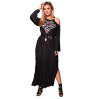ingrosso lunghezza lunga della caviglia del manicotto del vestito nero-Plus Size Sexy Off-spalla vestito ricamo floreale donne Solid Black Dress manica lunga femminile caviglia 6XL 7XL