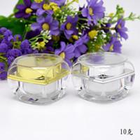 kosmetikpakete jar gold groihandel-5G 10G kosmetisches Glas Töpfe Acryl Transparent Gold Silber Verpackung Flaschen für Make-up Lippen Augen Gesichtspflege Produkte 150pcs