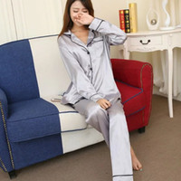 Wholesale long satin nightgowns women - Soft Faux Silk Satin Upscale Couples Pajamas Sets Men Women Long Sleeve Sleepwear Home Wear Nightshirt