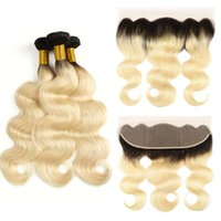 cierre completo del cordón del pelo extensiones al por mayor-Ombre 1B 613 Dark Roots Hair Blonde 13 * 4 Full Lace Frontal Closure With 3 Bundles Body Wave El cabello humano de la virgen brasileña teje la extensión