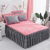 ingrosso biancheria da letto rosa coreana-1pc Coprimaterasso principessa blu rosa Coprisedile solido stile coreano estivo completo di biancheria da letto matrimoniale