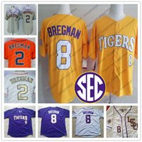 Wholesale alex white baseball - NCAA LSU Tigers #8 Alex Bregman College Baseball Jersey Purple Gold White Yellow Houston #2 Bregman Orange Gray Blue 2017 WS Champions S-3XL