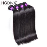 malezya saç fırsatları toptan satış-Malezya Düz Saç 4 Bundle arası% 100% İnsan Saç Dokuma Paketler Remy Malezya 4 Paketler Düz Saç Uzantıları HCDIVA