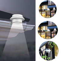 Wholesale solar fence gutter light led - Solar Fence Lights Outdoor Garden 3 LED Gutter Wall Lamp Powered Security Light