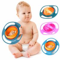 ingrosso alimentazione di alimenti per neonati-Ciotola UFO a 360 ° girevole bilancia con ciotola Coperchio UFO senza coperchio a forma di ciotola rovesciata per bambini