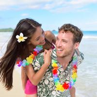 havaiano luau decorações venda por atacado-Novo Design 36 Counts Tropical Hawaiian Partido Lei Flor Luau favores de festa natalícia Diy Decoração