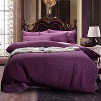 lila silberne bettwäsche gesetzt großhandel-4Pcs Purple Silver Imitation Seide Falten Luxus Bettwäsche-Sets Königin King Size Bettbezug-Set Coon Dickes Tagesdecke Set Kissenbezug