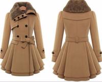 costela cinturão venda por atacado-Atacado- Sisjuly mulheres outono inverno trench coat casaco de lã de marca dupla breasted cinto de manga comprida vermelho fino womens khaki trench coat