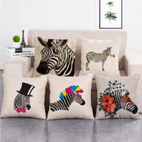 zebra kissenbezüge großhandel-Zebras Pattern Kissenbezug Tiere Gedruckt Kissenbezüge Leinen Baumwolle Quadrat Kissenbezüge Sofa 45x45 cm Zebra Kissenbezug