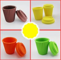 Wholesale silicone coffee cup covers - Coffee Cup Silicone With Cover Travel Accompanying Vehicle Food Grade Soft Multicolor No Odor High Temperature Resistance Mugs CCA9290 20pcs
