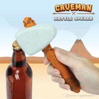 ingrosso apribottiglie in pietra-1pcs nuovo a forma di martello birra apriscatole l'età della pietra caveman apribottiglie con cinturino in pelle può jar birra apribottiglie