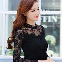 Wholesale black top crochet collar - Sexy Chiffon Lace Blouse Women Blouses Shirts Elegant Black White Crochet Long Sleeve Blouse Shirt Ladies Tops