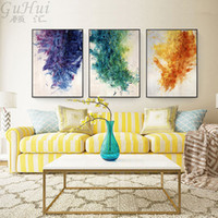 Wholesale painting wall orange - Nordic Modern Watercolor Abstract Purple Green Orange Canvas Painting Oil Painted Wall Picture Art Poster Home Living Room Decor