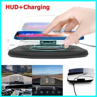 Wholesale hud display gps - HUD Car Phone GPS Display Wireless Charger Auto Air Vent Holder for iPhone Smartphone Stand Holder Wireless Charging Pad Head-up Display New