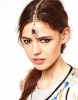 accessoires de cheveux de strass indien achat en gros de-Broche Cheveux Clip Rose Cristal Cristal Tête Chaîne Accessoires De Cheveux De Mariage Headpiece Indian Headhead Bijoux Pour Femmes