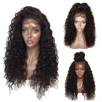 Wholesale Half Wig Afro - Long Afro Kinky Curly Synthetic Lace Front Wigs For Women Heat Resistant Half Hand Tied Fiber Hair Black Color Synthetic Wigs