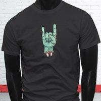 divertidas manos libres al por mayor-Zombie Hand Rock On Halloween Costume Funny Humor Mens Charcoal T-Shirt Divertido envío gratis Unisex Casual regalo