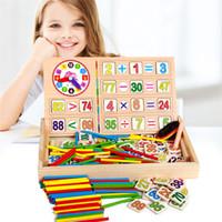 juguetes de matemáticas al por mayor-Baby Abacus Contando Cuentas Matemáticas Aprendizaje Educación Juguetes Building Intelligence Blocks Montessori Mathematical Wooden Toy Gift