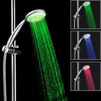 Wholesale contemporary bath lighting - LED Lighting Health Care Shower Head Bath Faucet Temperature Sensor 3 Color Light ShowerHead Hand Held Shower for Bathroom Faucets